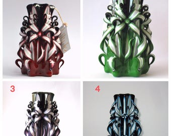 Maroon black Carved candle green blue candles Dark candles dekor Housing   unique gift  woman exquisite candle Interior candles