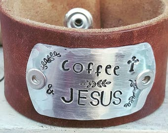 Coffee & Jesus Hand Stamped Upcycled Leather Cuff Bracelet. Coffee lover. Christian Gift.