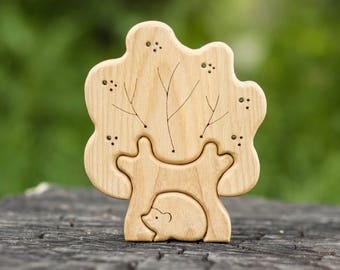 Tree and Hedgehog Puzzle. Wooden Puzzle. Waldorf Toy. Montessori Toy for Baby and Toddler. Educational Toy. Handmade Eco-Friendly Toy.