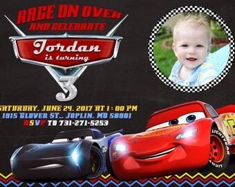 Disney Cars 3 Invitation, Disney Cars 3 Birthday Party, Cars Invitation