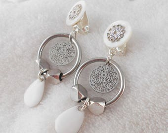 Earring clip white Anna (made in France)