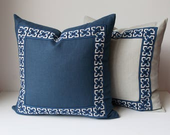 Navy Throw Pillow Cover - Linen Pillow Cover -Navy Blue Pillow Cover With Navy Trim- Geometric Trim -Linen Throw Pillow Cover