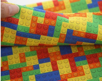Vivid Lego Block Patterned Fabric, Cute, sewing, Quilt made in Korea Half Yard