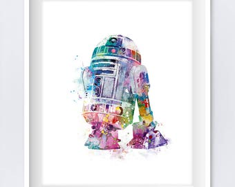 R2D2 Watercolor Art Print R2D2 Poster Star Wars Print Movie Poster Clones Battle bb8 Jedi Force Awakens Wall Decor Gift Download Wall Art