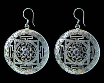 Amethyst and Mandala Earrings, Silver