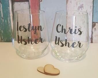 Personalised Glasses, Groom Gift, Groomsmen Gift, Groomsman Gift, Best Man Gift, Father of the Bride Gift, Usher Gift, Wedding Glasses