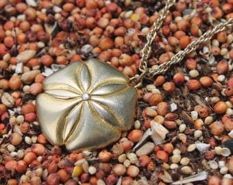 Beautiful vintage gold tone sand dollar pendant & chain necklace - summer jewelry - beach jewelry