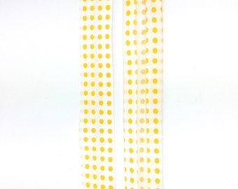 5 m polycotton polka dot yellow and white 20mm