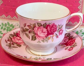 Pretty in Pink-Queen Anne Teacup and Saucer