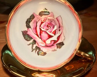 Pretty in Pink-Stunning Taylor and Kent Large Pink Rose Pedestal Teacup and Saucer