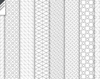 Set of modern vector linear seamless backgrounds. Digital paper. AI+EPS10+JPEG+PNG. For commercial and personal use. Modern thin line style