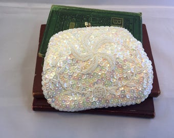 Vintage White Beaded and Sequin Clutch Made in Hong Kong, Pinwheel and Rose Pattern
