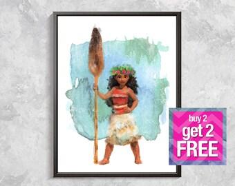 Moana Print, Moana Princes wall decor, Moana Watercolor,  Moana poster, Digital download art, Moana birthday party, Moana nursery decor