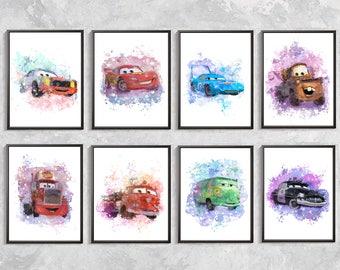 disney cars print 8 disney cars disney watercolor disney cars decor disney