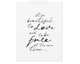 To Love and to be Free | Handwritten Printable Poster | Minimalist art print | Black and white minimal artwork | Scandinavian typography art