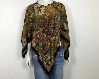 Vtg 70s silk capelet jungle safari cape poncho osfa