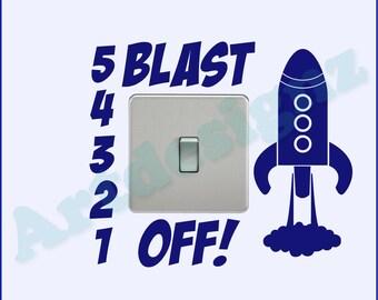 BLAST OFF Rocket Space Planet Girls Kids Childrens Bedroom Nursery Vinyl Matt Wall Light Switch Sticker Surround Decal Transfer *20 colours*