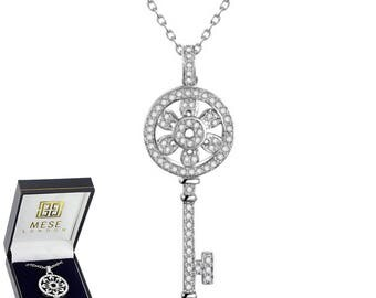Diamond Key Necklace Silver Pendant - Elegant Gift Box