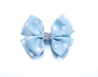 Cute light blue hair bow; Elsa bow; Princess bow; blue polka dot bow; Cinderella bow