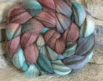 Heathered Bfl Combed Top - Spinning Fiber - Feltable - Hand Painted - approx. 4 ounces each - COPPER ROOF