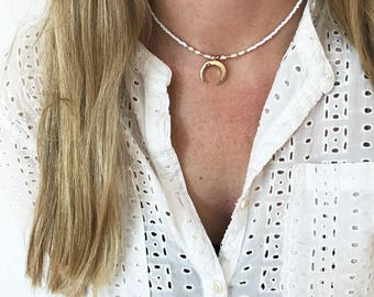 Upside down moon choker necklace double horn choker necklace crescent necklace beaded choker beaded necklace gift for girlfriend boho