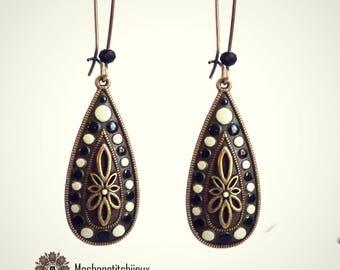 drop earrings black and white spirit Bohemian