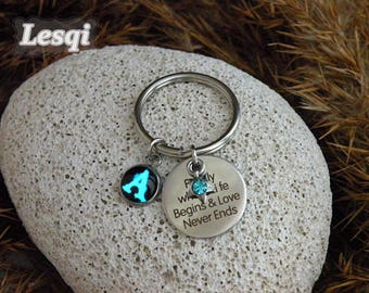 Glow alphabet letter keyring,Stainless steel keychain with tree charm plate,blue crystal star,Famliy where life begins&love never ends