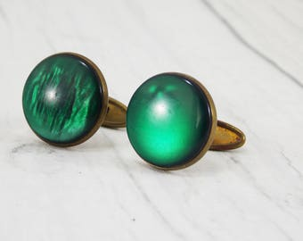 Mens gift cufflinks\for\groom cufflinks green cufflinks second anniversary wedding cufflinks antique jewelry button cufflinks men cufflinks