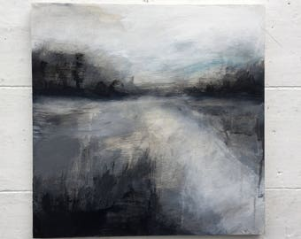 WINTER LANE...landscape,abstract landscape,winter scene,atmospheric art, British landscape, painting, art, unique gift, modern art,