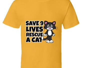 Funny cat Tshirt,rescue cat tshirt,cat lover tshirt,cat lover clothes,keep calm and love cats,black cat tshirt,cat lover gifts,Save 9 Lives
