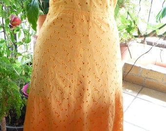Halter dress in orange embroidery lace