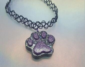 READY TO SHIP! Black and Purple Kitty Paw Elastic Tattoo Choker