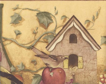 Yellow Apple Birdhouse Wallpaper Border 41776410