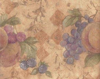 Gold Yellow Pear Cherries Grapes Wallpaper Border 78250 TK