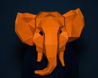 Elephant Mask Paper Lowpoly Trophy Papercraft3D