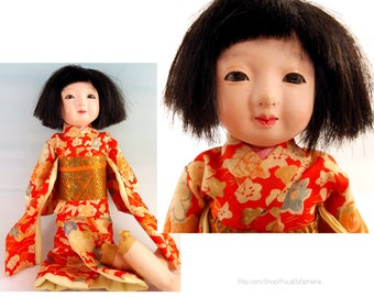 Vintage Ichimatsu Gofun Doll , Japanese Composite Doll
