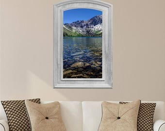3D Window Wall Decal, River Rocks Mountain View, Instant Window, Fake Window, Wall Stickers for Living Room, Gray Wood Frame