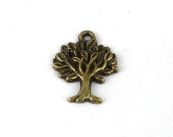 2 pendants tree Bronze color - 22mm x 17mm