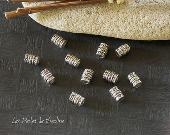 Set of 10 beads - silver - patterned Metal Tube 7 x 5 mm - ref:t13