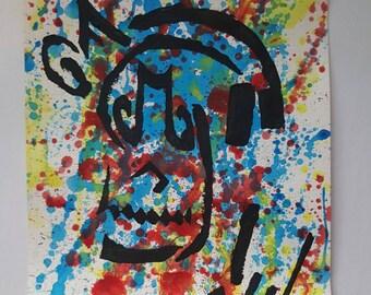 Music Monster skull skeleton 9x12 KVicious Paper Graffiti Original Art acrylic painting