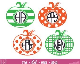 4 Pumpkin Monogram svg - Monogram Frame svg - Halloween Monogram svg - Halloween svg - Thanksgiving svg - Halloween Pumpkin
