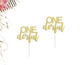 ONEderful Cupcake Toppers (Set of 12) | First Birthday Toppers | Miss One Derful | Mr One Derful | 1st Birthday Party Decor | Cake Smash