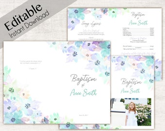 Baptism Program LDS Printable Digital, Editable PDF, Songs Handout Girl Baptism Flowers, Blue Purple mint, Watercolor, Program Template