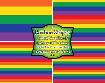 Rainbow Print Striped Vinyl/Printed Heat Transfer Vinyl/Pattern Vinyl/Printed 651 Vinyl/Printed 631 Vinyl/Printed Outdoor Vinyl/Printed HTV