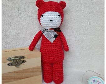 Plush toy is hand crocheted