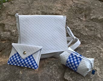White handmade bag, white bag, white shoulder bag, white blue handbag, minimalist bag, white soft bag, white lightweight bag, women bag