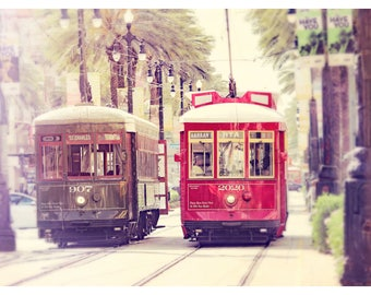New Orleans photography, Louisiana, St. Charles streetcar, Canal Streetcar, travel photography, dreamy urban photography, urban wall art