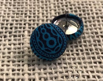 Navy and aqua button earrings!