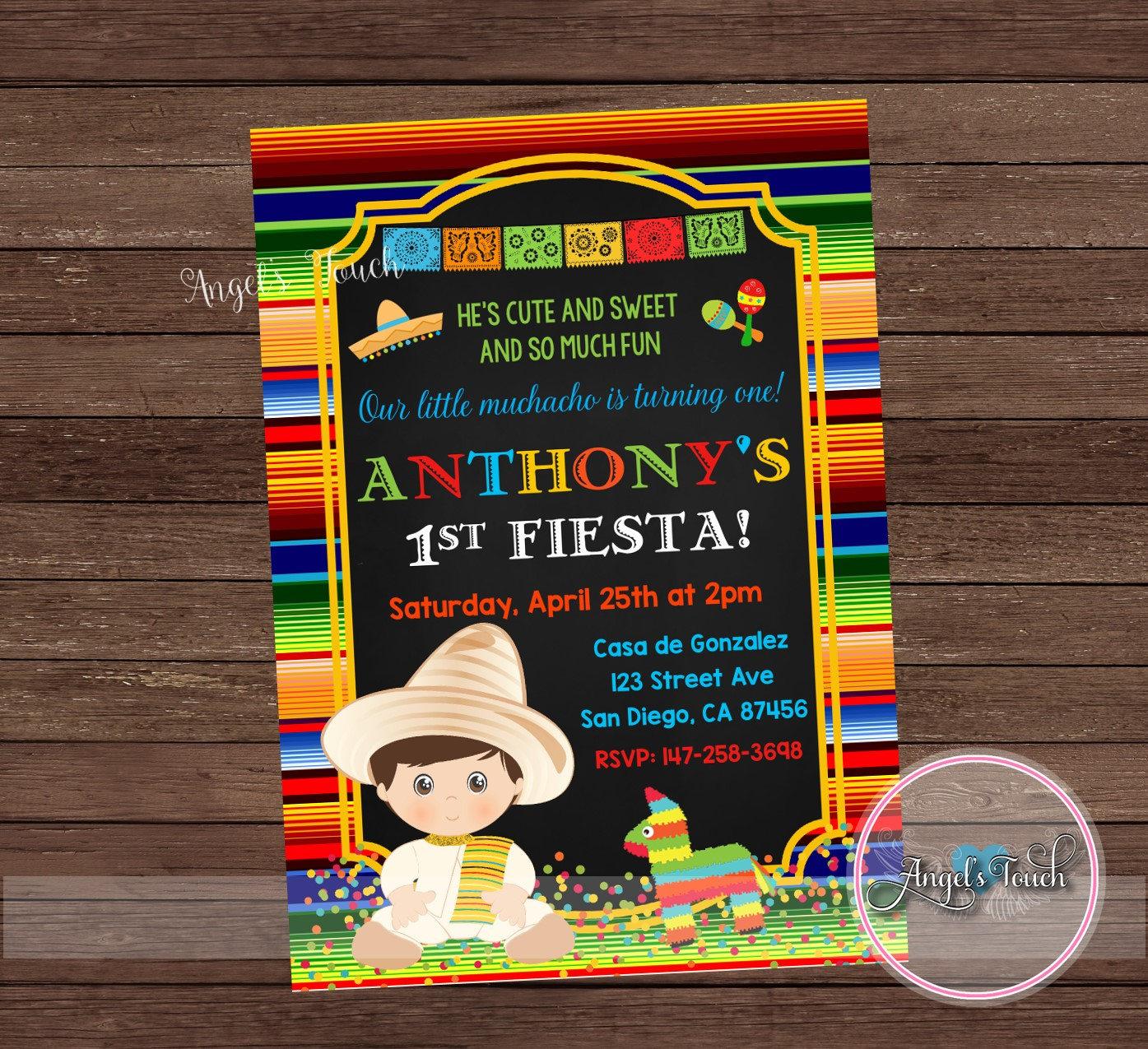 Fiesta Party Invitation for Boy, Fiesta Birthday Invitation ...