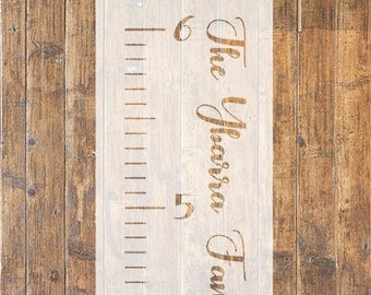 Personalized Family Growth Chart Ruler STENCIL // Growth Chart Stencil // Personalized Stencil // Vinyl Stencil